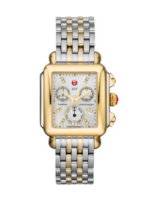 "Image of From the Deco Collection. Dazzling diamonds give this modern two-tone stainless steel timepiece an extra boost of brilliance. Swiss quartz movement. Water resistant to 5 ATM. Rectangular polished stainless steel case, 35mm x 33mm (1.4"" x 1.3"").Polished 18"