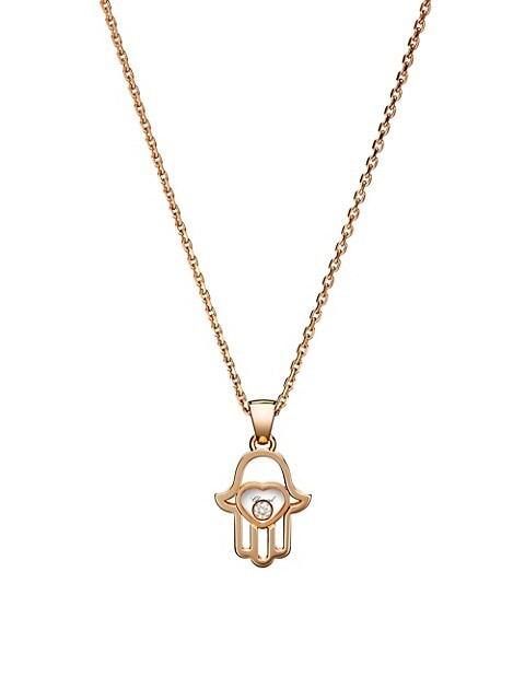 Happy Diamonds Hamsa Hand Diamond & 18K Rose Gold Pendant Necklace