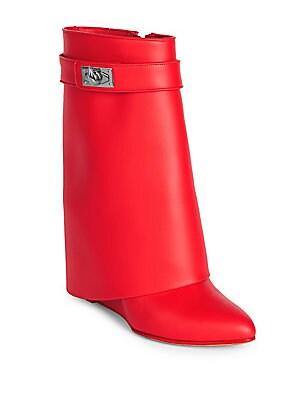 4499004b4433 Givenchy - Shark Lock Leather Pants Mid-Calf Wedge Boots - saks.com