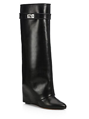 Givenchy - Shark Lock Knee-High Leather Wedge Boots - saks.com 1283d054b
