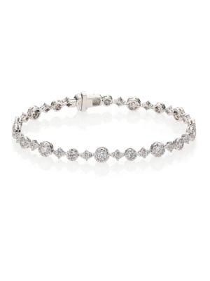 Sunburst Diamond & 18K White Gold Tennis Bracelet