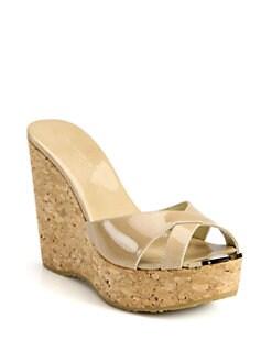 0f3e05aa69c Jimmy Choo Perfume 120 Patent Leather and Cork Wedge Sandals