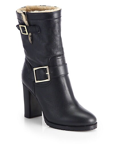 Dart Shearling-Lined Leather Biker Boots
