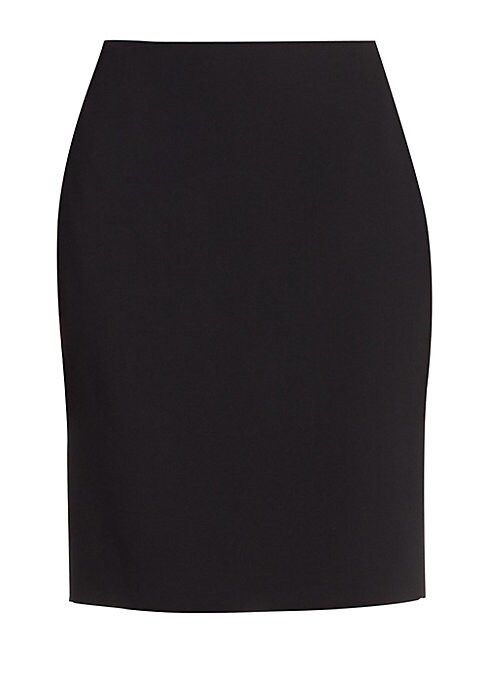 "Image of .Classic wool-blend skirt in flattering fit style. Two back waist shaping darts. Concealed side and back zip. About 40"" long. Wool/polyamide. Dry clean. Made in Italy. Model shown is 5'10"" (177cm) wearing US size 4."