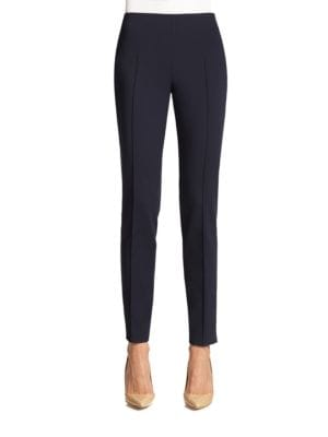 'Melissa' Slim Techno Cotton Ankle Pants in Black