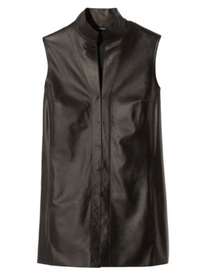 Architecture Collection Nappa Leather Sleeveless Blouse by Akris