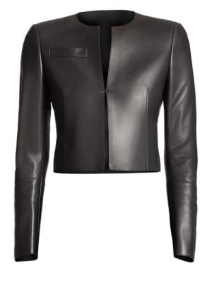 AKRIS Hasso Cropped Leather Jacket in Black