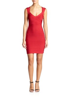 Buy Herve Leger Cap-Sleeve Bandage Dress online with Australia wide shipping