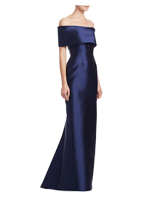 "Image of EXCLUSIVELY AT SAKS FIFTH AVENUE. Elegant floor-length gown with dramatic neckline. Off-the-shoulder neckline. Concealed back zip. Mermaid skirt. Front and back shaping seams. Silk lining. About 63"" from shoulder to hem. Silk/wool. Dry clean. Made in Cana"
