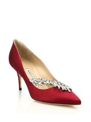 Manolo Blahnik Nadira Embellished Satin Pumps