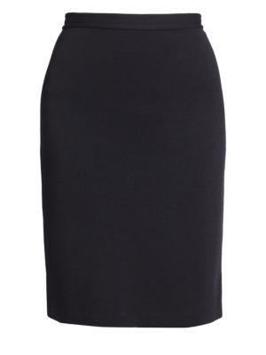 Caviar Collection Micro Boucle Knit Pencil Skirt in Black