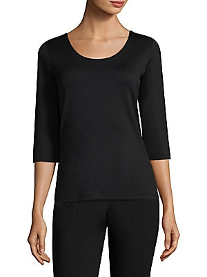 """Image of Smooth and seamless, this body-skimming jersey knit top is a wardrobe must-have. Scoopneck Three-quarter sleeves Pullover About 24"""" from shoulder to hem Polyamide/elastane Machine wash Imported. Modern Collecti - Boss Black. BOSS. Color: Black. Size: S."""