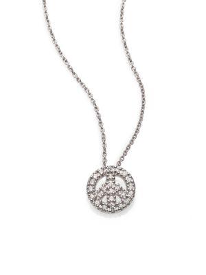 Tiny Treasures Diamond & 18K White Gold Mini Peace Sign Pendant Necklace