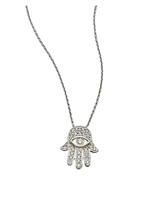 """Image of From the Tiny Treasures Collection. A spiritual design that sparkles with diamonds in 18k gold on a chain link necklace. .Diamonds, 0.18 tcw.18k white gold. Length, about 16"""" with 2"""" extender. Pendant size, about 0.5"""" .Lobster clasp. Made in Italy."""