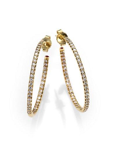 Roberto Coin Diamond & 18K Yellow Gold Hoop Earrings/1.2   Gold