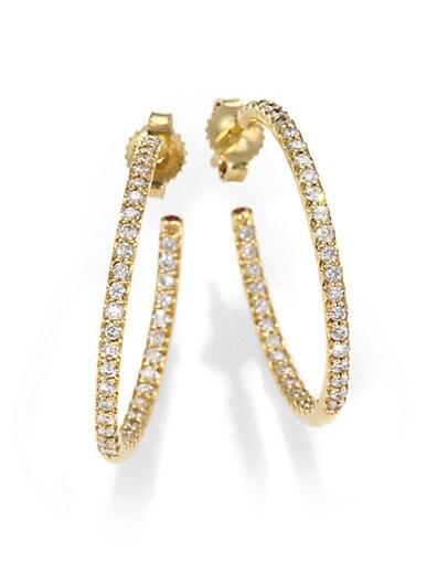 Roberto Coin Diamond & 18K Yellow Gold Hoop Earrings/1   Gold