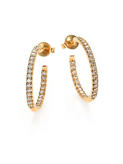 Roberto Coin Diamond & 18K Yellow Gold Inside Outside Hoop Earrings/0.75   Yell