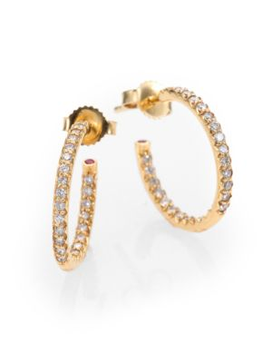 "Diamond & 18 K Yellow Gold Hoop Earrings/0.7"" by Roberto Coin"
