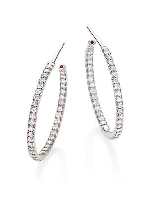 Roberto Coin Diamond 18k White Gold Medium Hoop Earrings