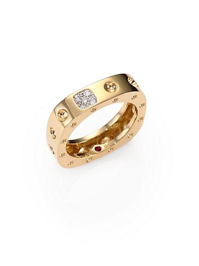 Roberto Coin Diamond & 18K Yellow Gold Pois Moi Single Row Square Ring   Yellow