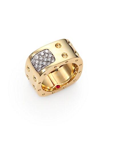 Roberto Coin Diamond & 18K Yellow Gold Pois Moi Two Row Square Ring   Yellow Gol