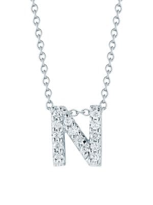 Roberto Coin Tiny Treasures 18k White Gold Diamond Love Letter N Necklace