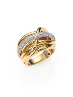 Roberto Coin Classica Diamond 18k Yellow Gold Crossover Ring