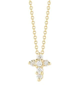 """Image of From the Tiny Treasures Collection. A delicate piece with sparkling diamonds in lustrous gold. .Diamonds, 0.11 tcw.18k yellow gold. Length, about 16"""" with 2"""" extender. Pendant length, about 0.25"""". .Lobster clasp. Made in Italy."""
