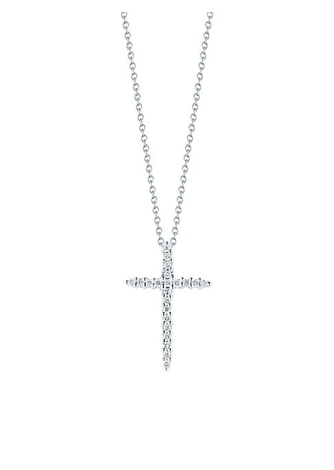 """Image of From the Tiny Treasures Collection. Pave diamonds set in sleek 18k white gold on a link chain. Diamonds, 0.1 tcw.18k white gold. Signature synthetic ruby detail at back. Length, about 16"""" with 2"""" extender. Pendant length, about 0.75"""".Lobster clasp. Made i"""