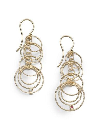Roberto Coin Diamond & 18K Yellow Gold Hoop Drop Earrings   Gold