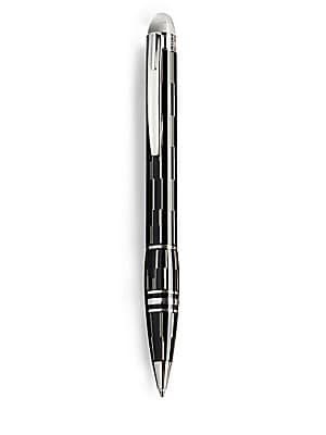 "Image of Black lacquer composition with laser-engraved patterns completes this elegant writing instrument. Ballpoint Floating star emblem on cap Twist mechanism About 5½"" long Made in Germany. Men Accessories - Luxury Collections. Montblanc."