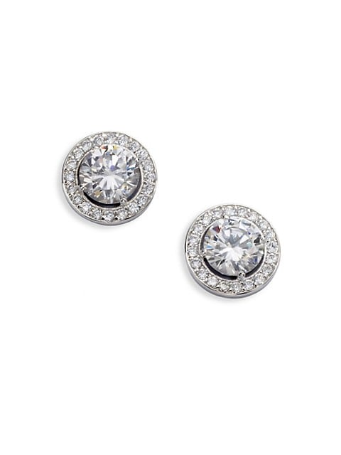 Sterling Silver Round Framed Stud Earrings