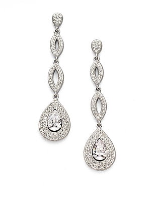 """Image of ONLY AT SAKS. A dazzling rhodium-plated piece in a pretty teardrop shape. Brass Drop, about 2¼"""" Post clutch back Imported. Fashion Jewelry - Adriana Orsini. Adriana Orsini. Color: Silver."""