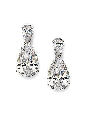 """Image of ONLY AT SAKS. A breathtaking pear shaped drop earring in cubic zirconia. Cubic zirconia Rhodium plated sterling silver Length, about 1"""" Width, about ½"""" Post and clutch backs Imported. Fashion Jewelry - Adriana Orsini. Adriana Orsini. Color: Clear."""