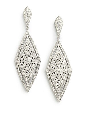 """Image of ONLY AT SAKS. A geometric, yet feminine design accented in pavé crystals. Crystals Rhodium-plated brass Drop, about 2.75"""" Post back Imported. Fashion Jewelry - Adriana Orsini. Adriana Orsini. Color: Silver."""