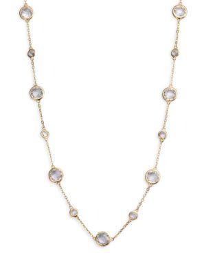 ADRIANA ORSINI Stationed Bezel-Set Necklace, No Color