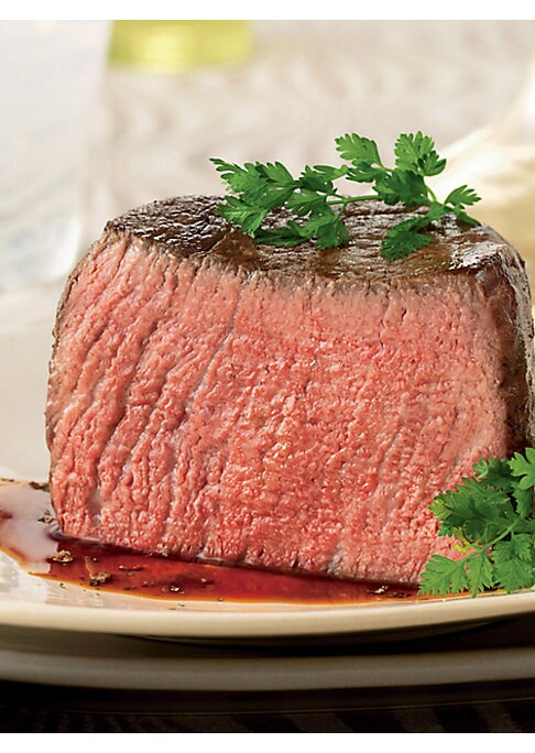 "Image of Complete-trim filets mignon are the leanest cuts available, trimmed of all exterior fat, yet marbled enough to deliver full flavor. Each filet is slowly wet-aged for a buttery tenderness and delectable flavor. Includes 8 steaks. Each: 6 oz.; 1?"" thick. Sh"