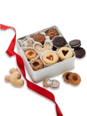 Image of This delicious assortment of surefire favorites includes raspberry & apricot thumbprints, raspberry & apricot windows, ginger thins, Amy-Os, pecan butterballs, sugar cookies, peanut butter sandwich cookies. .40 cookies total. Packaged in a keepsake gold t