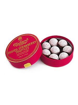 "Image of A collection of signature truffles with wild strawberry centers enrobed in pink chocolate, handmade in the UK by the boutique's confectionery artisans, then delivered in a lovely little gift box. Includes 8 truffles 4.5 oz. Box: 1¼""H X 4½"" d"