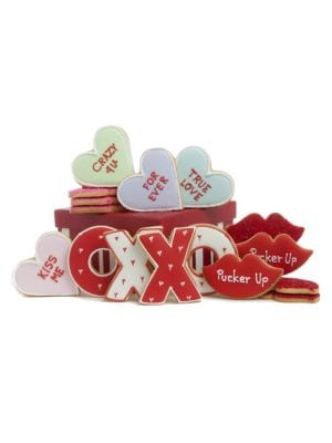 "Image of Hand-decorated sugar cookies packed in a red and white gift box and tied with a festive grosgrain ribbon. Gift box includes: 16 cookies. Box: 6.75"" square x 4"".13.8 oz. Shelf life: 90 days/6 months frozen. Made in USA."