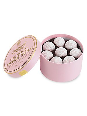 "Image of A collection of signature pink chocolate truffles with Marc de Champagne centers, handmade in the UK by the boutique's confectionery artisans, then delivered in a lovely little gift box. Includes 16 truffles 9.7 oz. 3.625""H X 4.475"" diam. Handmade in the"