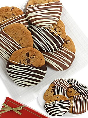Image of A heavenly assortment of freshly baked cookies includes chocolate chunk, macadamia/white chocolate and oatmeal raisin cookies, each lovingly hand-dipped and drizzled in rich, delicious chocolate. Includes: 12 cookies Serves: 12 Covered in Belgian chocolat