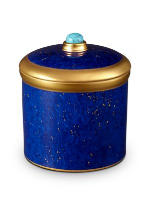Lapis-Look Limoges Porcelain & 24K Gold Candle