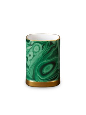 L'OBJET Malachite Pencil Cup in Green