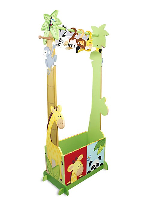 "Image of From the Sunny Safari Collection. Before your kids rush to their toys and games, have them hang up their coats and accessories on this valet rack, which is crafted with a convenient storage bin for rain boots and umbrellas. Includes four hangers.12""W x 47"