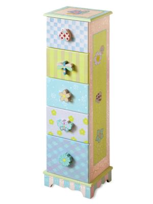 Image of From the Crackled Rose Collection. Polka dots, checks and stripes complement the cute critter and flower knobs of this small chest of drawers, ideal for little items, such as socks, underwear and accessories. Hand-painted with crackled finish. Five drawer