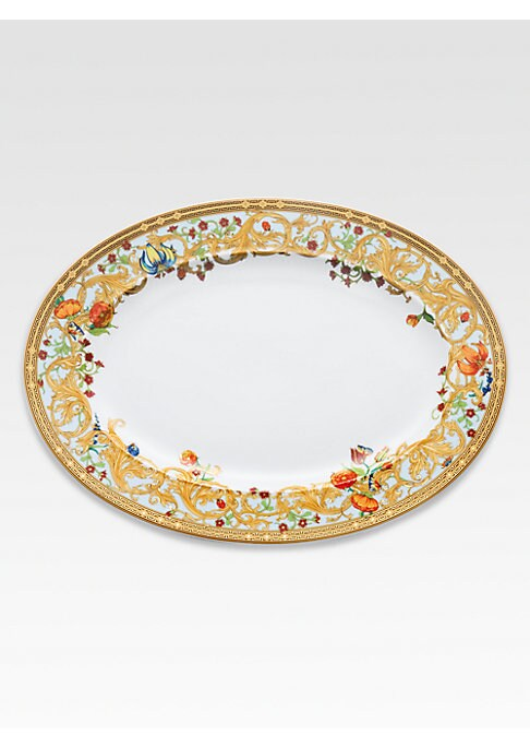 """Image of The House of Versace's extraordinary new porcelain dinnerware collection is defined by the scrolling vines and verdant detail of an elegant country garden. From the Butterfly Garden Collection. Porcelain.15"""" wide. Hand wash. Made in Germany."""
