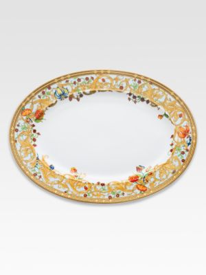 "Image of The House of Versace's extraordinary new porcelain dinnerware collection is defined by the scrolling vines and verdant detail of an elegant country garden. From the Butterfly Garden Collection. Porcelain.15"" wide. Hand wash. Made in Germany."
