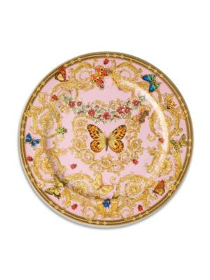 "Image of The House of Versace's extraordinary new porcelain dinnerware collection is defined by the scrolling vines and verdant detail of an elegant country garden. From the Butterfly Garden Collection. Porcelain.12"" diam. Hand wash. Made in Germany."