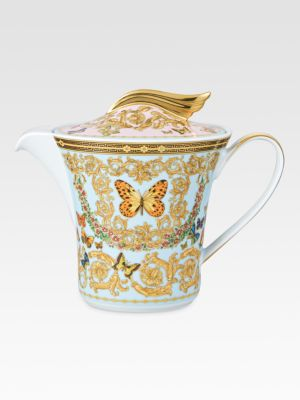 Image of From the Butterfly Garden Collection. The House of Versace's extraordinary new porcelain dinnerware collection is defined by the scrolling vines and verdant detail of an elegant country garden. Porcelain.43 oz. Hand wash. Made in Germany.